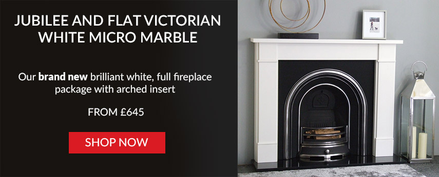 Jubilee and Flat Victorian White Micro Marble Fireplace