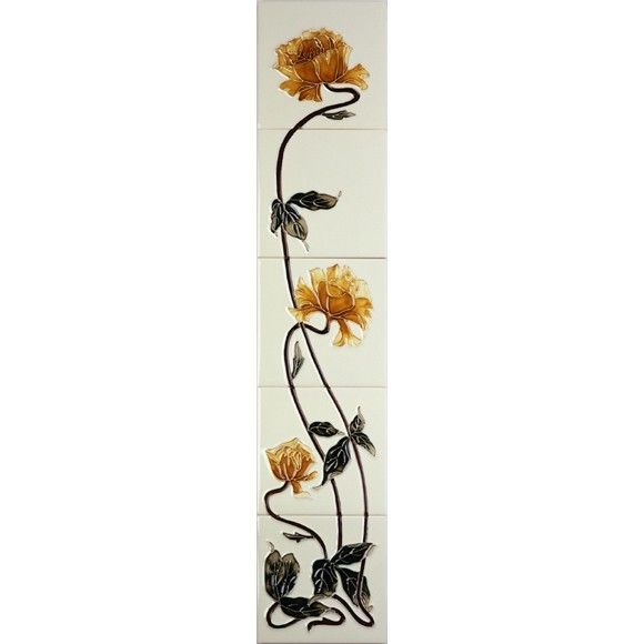 Sweeping Rose Yellow/Ivory Gallery Fireplaces Tubeline Tiles-0