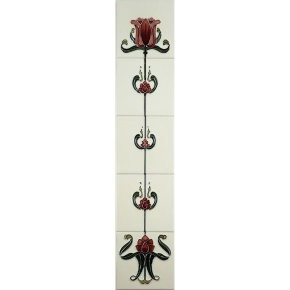 Tulip Burgundy/Ivory Gallery Fireplaces Tubeline Tiles-0