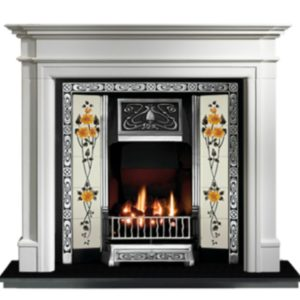 Any Highlighted Tiled Insert and Bartello Limestone Fireplace-0