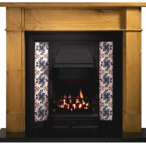 Any Black Tiled Insert and Pine Worcester Wooden Fireplace-0
